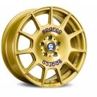 Sparco TERRA 7.5X17 5X100 ET48.0 NB63.3 RACE GOLD + BLUE LETTERING