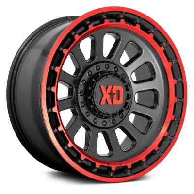 XD856 OMEGA SATIN BLACK MACHINED LIP W/ RED TINT